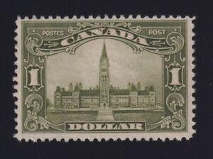 Canada Sc #159 (1929) $1 olive green Parliament Mint H