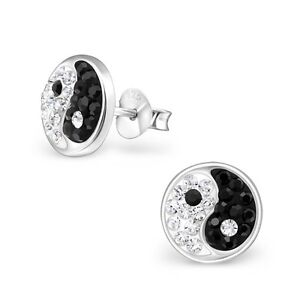 Image Is Loading Pair 925 Sterling Silver Crystal Yin Yang Logo