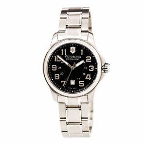 Victorinox-Swiss-Army-Women-039-s-Watch-Officer-039-s-Black-Dial-Steel-Bracelet-241368