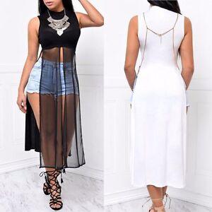 ace545f23 Details about Womens Sexy Open Both Sides High Mesh Split Slits Maxi Dress  Long T-Shirt Tops