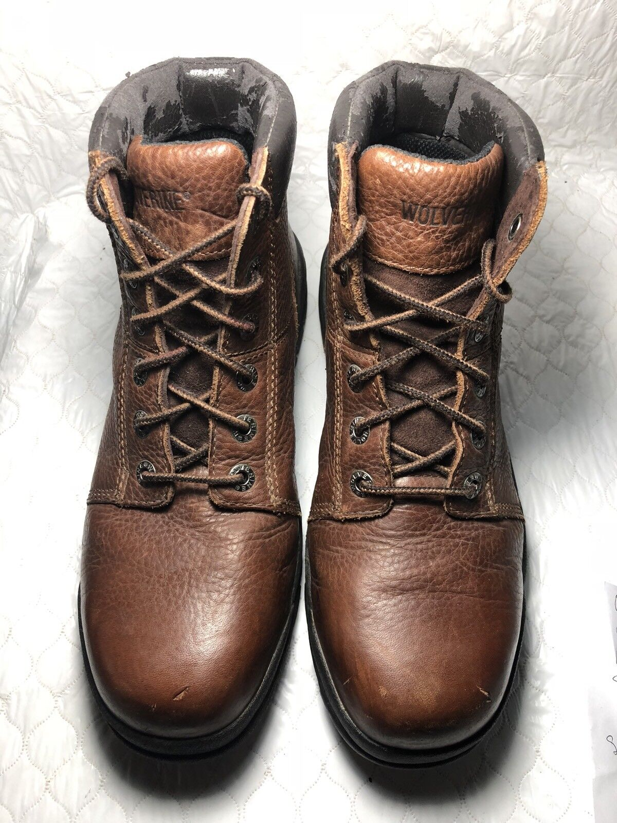 Wolverine Men's Brown Leather Steel Toe Hiker Work Boots Size-9 M