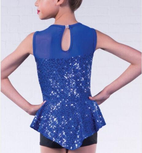 In Stock Contemporary Modern Unitard Sequin Peplum Blue Black Dance Costume