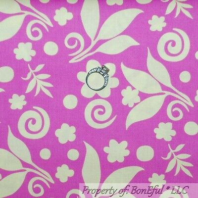 BonEful Fabric FQ Cotton Quilt Green Bright Pink White Flower Damask Leaf Swirl
