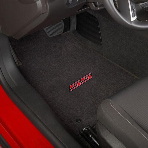Ebony  32oz Fits 2010-2015 Chevy Camaro SS 2 Pc Carpet Floor Mats Official logo