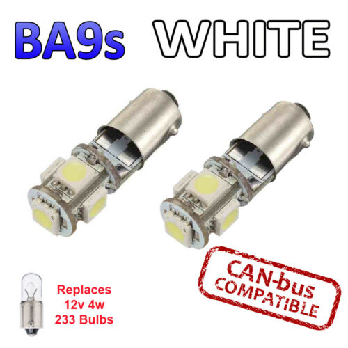 2 x BA9s White Canbus LED Number Plate Interior Side Light 5 SMD Bulbs 233 T4W