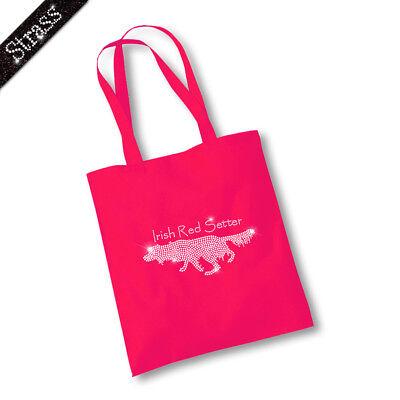 Jutebeutel Beutel Einkaufstasche Tasche Shopper Strass Hund Irish Red Setter M1