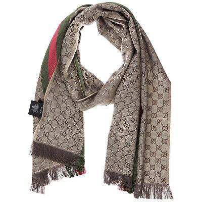 Gucci sciarpa uomo 147351 4G704 2766 marrone Lana stola foulard scialle    eBay