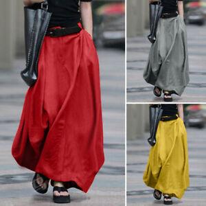 Womens Casual Long Pleated Elastic Skirt High Waist Ladies Maxi Beach Skirts UK