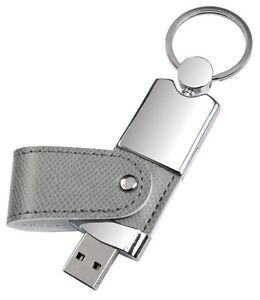 PENDRIVE-USB-8-GB-in-METALLO-e-PELLE-GRIGIA-PERSONALIZZATA-con-INCISIONE