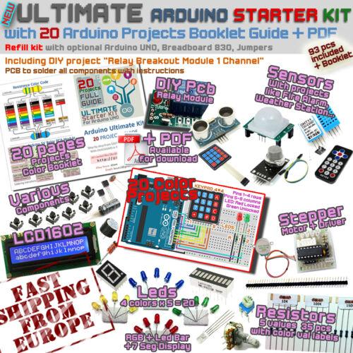 New ULTIMATE Arduino UNO 20 PROJECTS Starter Refill Kit LCD,Sensors EU Ship