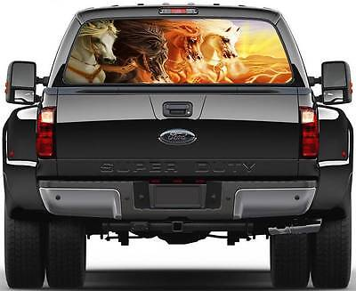 Horses Running at Sunset  Rear Window Graphic Decal Sticker Truck SUV Van Car
