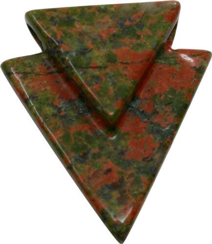 Blumenjaspis Pfeilanhänger Dreieck 3 cm Edelstein Anhänger Unakit Epidot Pfeil
