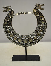 Miao Hill Tribe Asian Silver Relief Filigree Dragon Flower Necklace