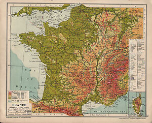1935 Map France Physical Political Showing Departments Corsica