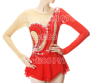 Girl Women  latin Ice Skating Dress Competition Red Spandex Handmade Fashion  incentive promotionals