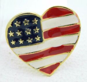 Vintage-Gold-Tone-Enamel-Patriotic-Heart-4th-of-July-Large-Pin-Brooch