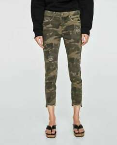8dd220fe NWT ZARA Camouflage Mid-rise skinny jeans distressed ripped Size 02 ...