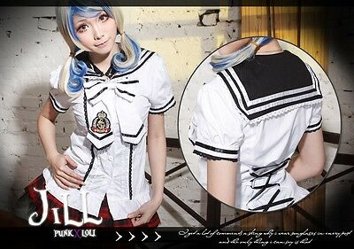 Goth Lolita cosplay Crystal beauty Class academic preppie sailor collar shirt W