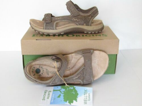 EARTH ORIGINS Suede Lightweight Cushioned Arch Support Comfort Sandals Womens 6