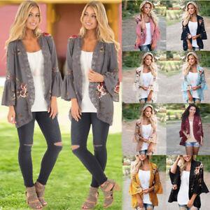 US-Boho-Womens-Long-Sleeve-Lace-Floral-Kimono-Cardigan-Blouse-Casual-Jacket-Tops
