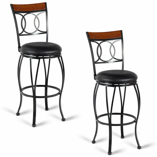 Astonishing Set Of 2 Retro Swivel Bar Stools Padded Seat Pub Chair Vintage Bistro Kitchen Machost Co Dining Chair Design Ideas Machostcouk