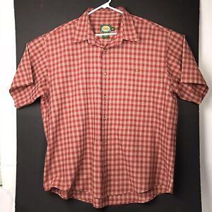 Cabelas-Mens-Shirt-Button-Up-Short-Sleeve-Red-Plaid-XL-Polyester-Cotton