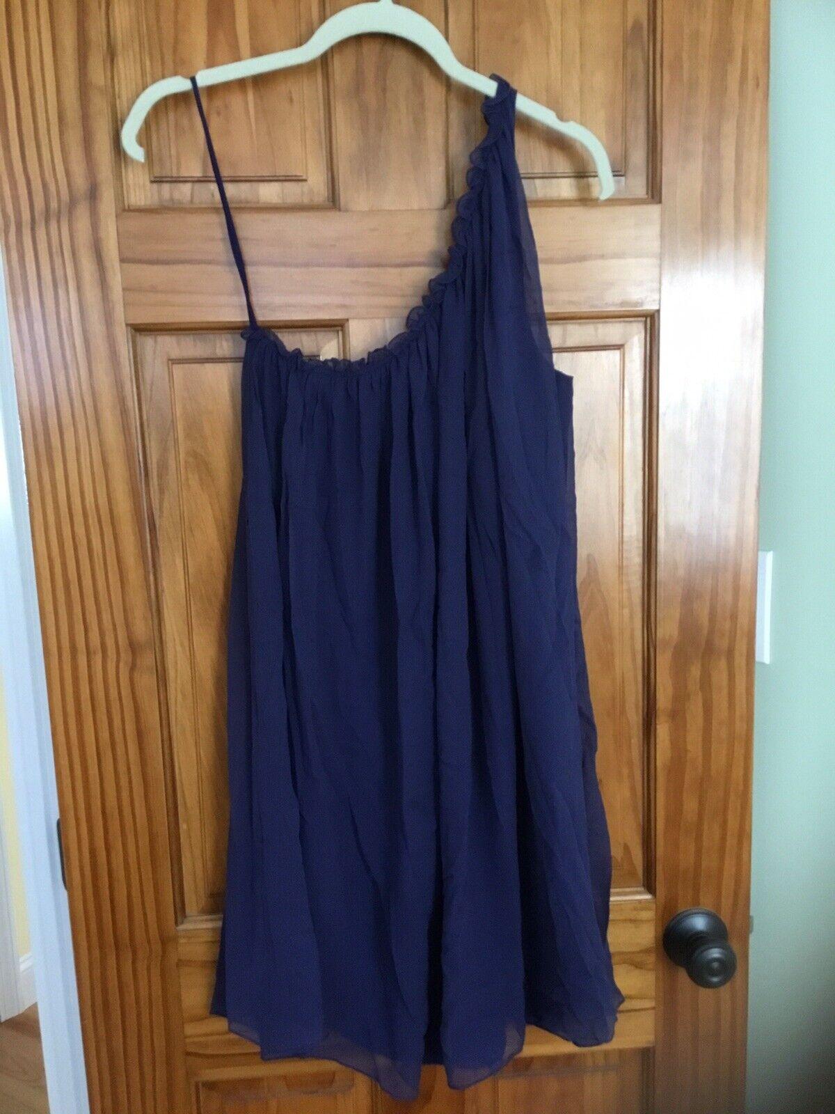 Elizabeth and James 'Raquel' Navy One Shoulder Dress, Size L  Retail