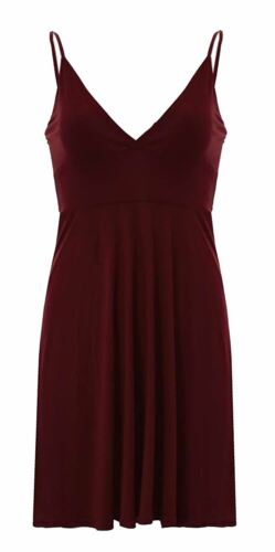 New Womens Plus Size Wrap Over Cami Sole Skater Swing Dress 8-22