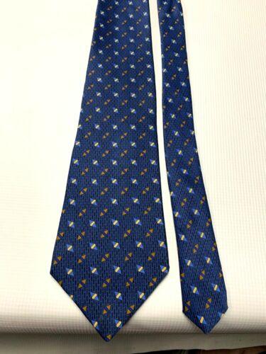 Mens Silk Tie by Villa Bugatti Designer Tag Navy and Light Blue Geometric Design bx10  82686516