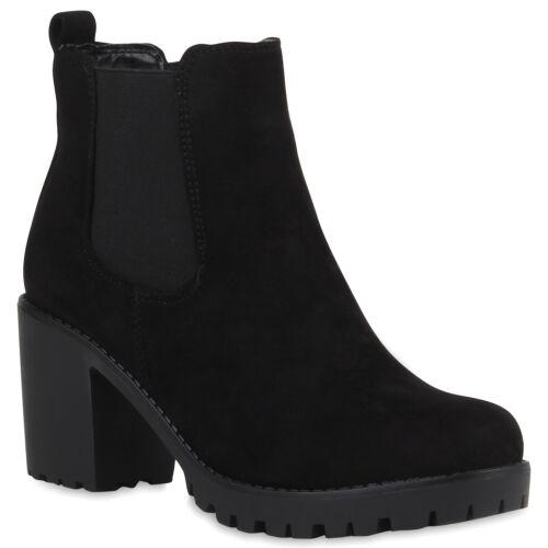 Damen Stiefeletten Chelsea Boots Klassisch Profilsohle Booties Schuhe 891546 Top
