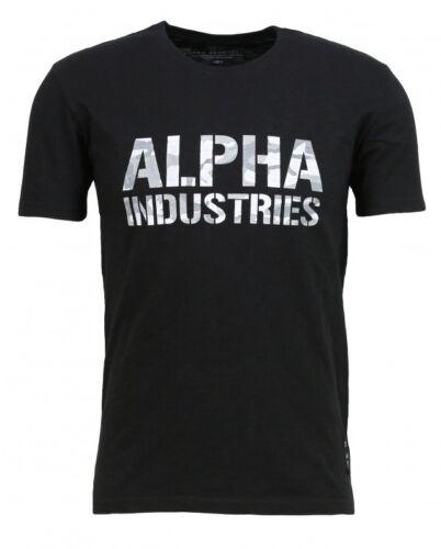 Alpha Industries Herren T-Shirt Camo Print Black//White