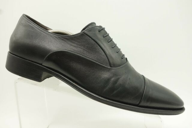Bruno Magli Italy Black Leather Lace Up Cap Toe Oxford Shoes Mens 11 M