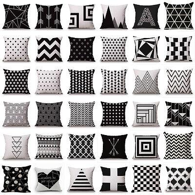 Home Fashion Black&White Geometric Square Pillow Case Throw pillow Cushion Cover