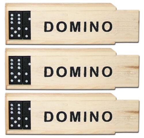 3/12/24/48 x Domino aus Holz Holzdomino Sonderposten Spiele 28 Steine Box Großhandel & Sonderposten