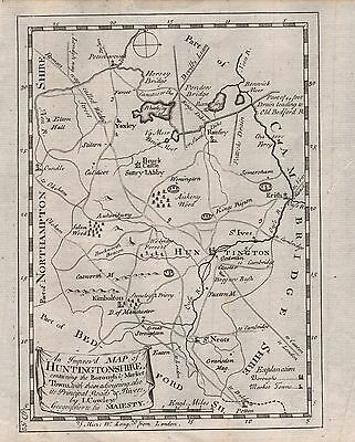 1744 County Map John Cowley - An Improved Map Of Huntingdonshire