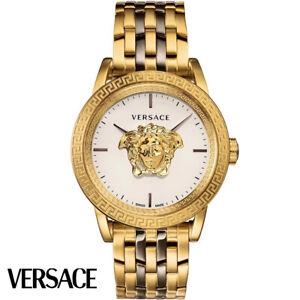 Versace-VERD00418-Palazzo-Empire-weiss-gold-bronze-Edelstahl-Herren-Uhr-NEU