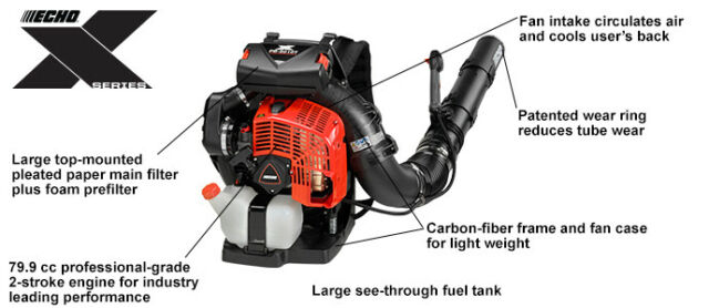Echo PB-8010T 79.9 cc Backpack Blower with Tube Mounted Throttle, 211 MPH,1071 CFM