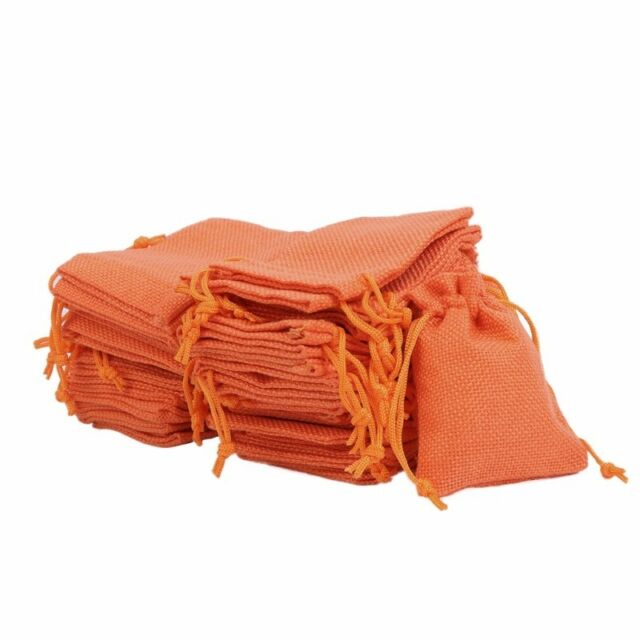 50pc Small Bag Natural Linen Pouch Drawstring Burlap Jute Sack Jewelry Bags Gift