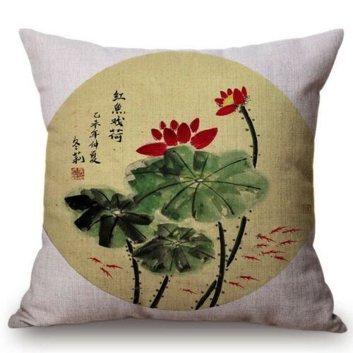 Chinese Retro Painting Style Classical Girl Lotus Cushion Covers Office Car