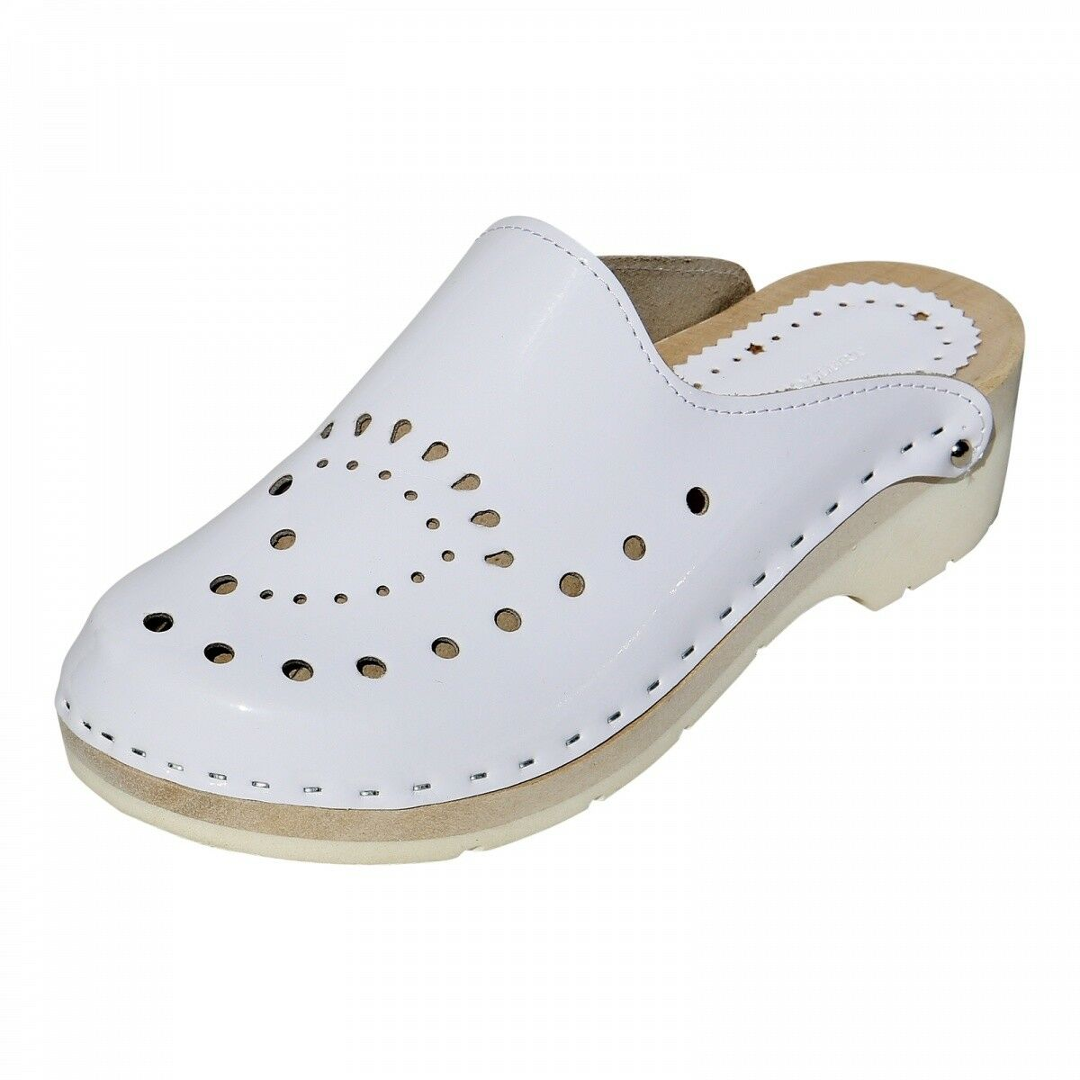 Wooden shoes - Pia Women Clogs Real Leather Mules White