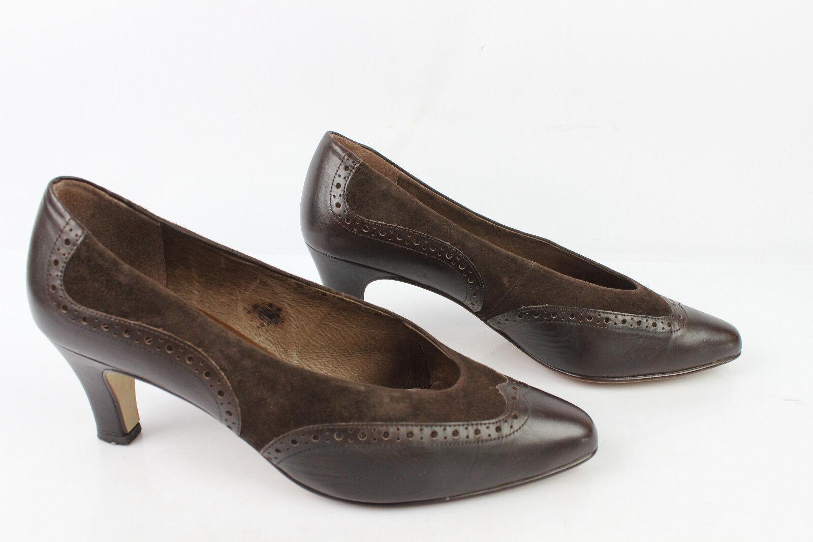 VINTAGE shoes BRIGITTE von SERVAS Pelle brown REGNO UNITO 6 FR 39,5