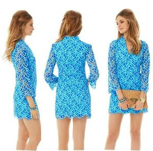 298-New-Lilly-Pulitzer-Devina-Brewster-Blue-Light-Weight-Flora-Lace-Shift-DRESS