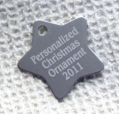 Custom Laser Engraved 1 PERSONALIZED Ornament SILVER STAR Shape