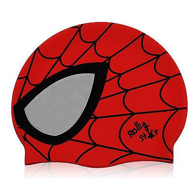 HOOG SC034 Spider Man Swim Cap Swimming Cap Swim Hat Red Color