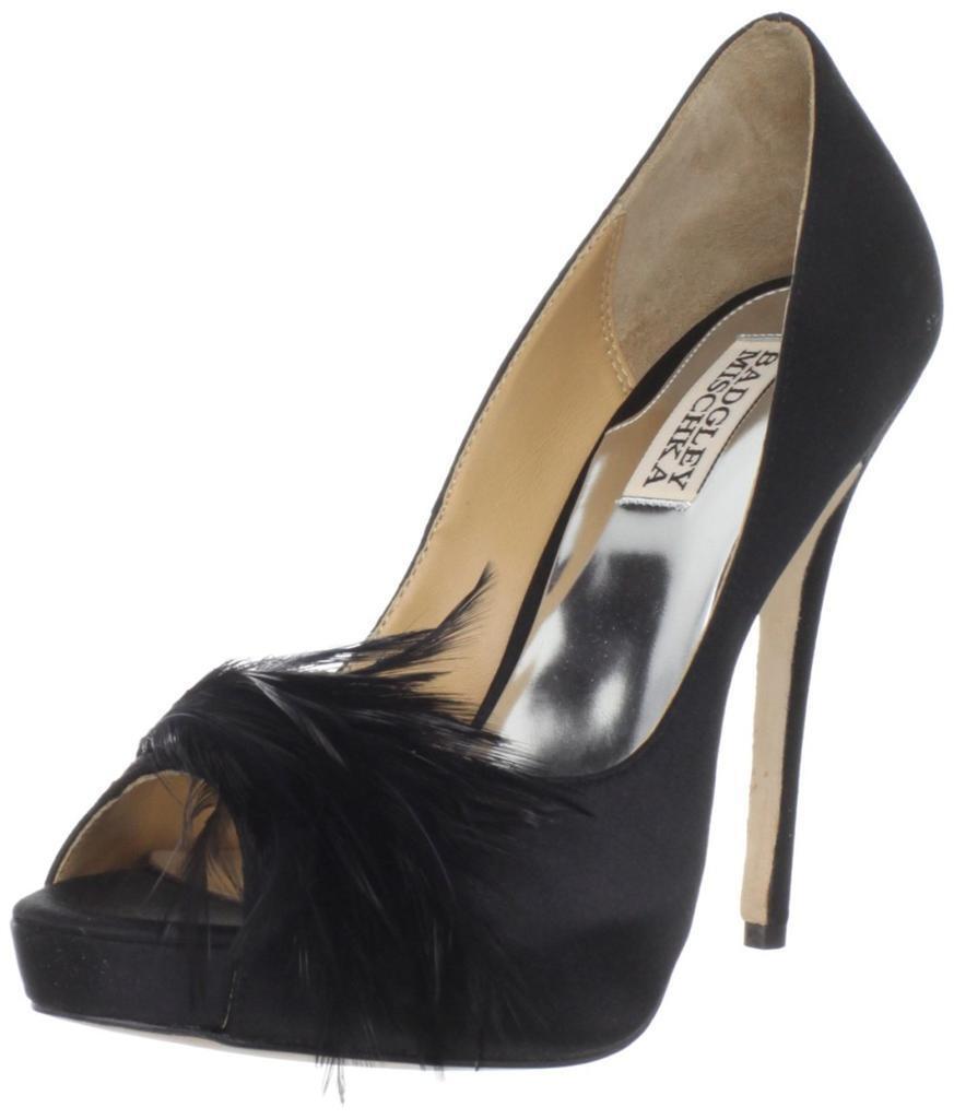 vendita economica Badgley Mischka Ginnie nero Open Toe Pump Stiletto Stiletto Stiletto Heels Satin Feather Wedding  ordina adesso