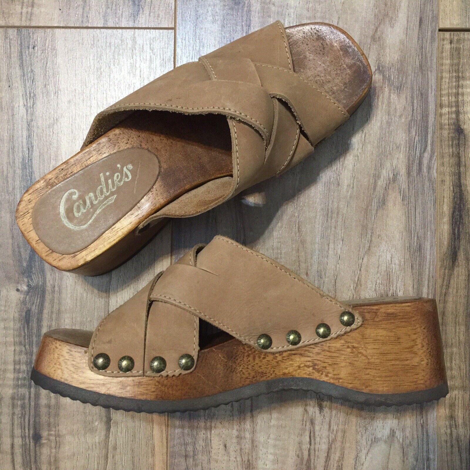 Vintage 90s Candies Wedge Sandals Slides Clogs Light Brown 7.5 - Boho Hippie