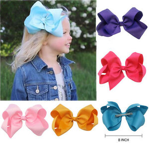 6-034-8-034-Inch-Cute-Girls-Hair-Bows-Grosgrain-Ribbon-Knot-Large-With-Clip