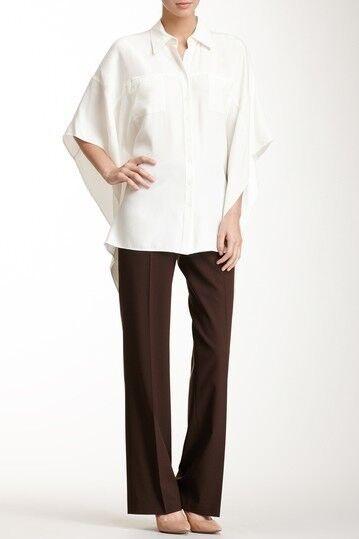 Lafayette 148 New York Women's Espresso Classic Wool Blend Pants Sz 4