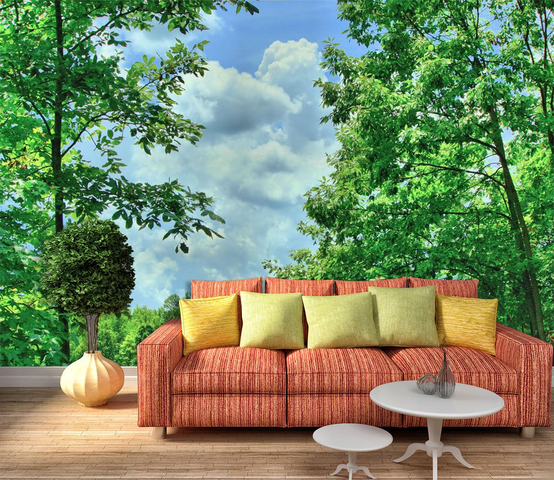 3D Bäume, Wolken 325 Fototapeten Wandbild Bild Tapete Familie Kinder