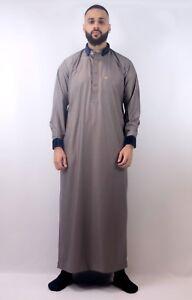 Mens-Designer-034-The-Man-034-Jubba-Design-Slim-Fit-Brown-Velvet-Trim-Thobe-UK-SELLER